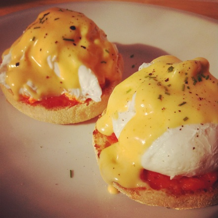 Harissa & Sriracha Hollandaise Poached Eggs