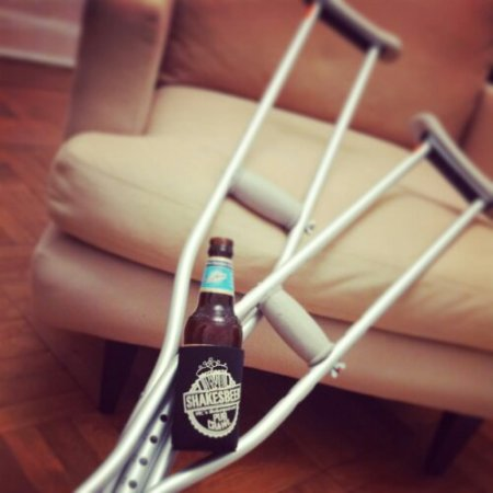 My haul for the day: ShakesBEER cozy and new crutches