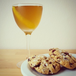 cocktails and salted chocolate chip fig cookies